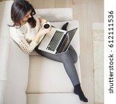 caucasian busy woman using... | Shutterstock . vector #612111536