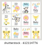 set of baby shower cards on... | Shutterstock .eps vector #612114776