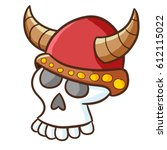 funny and scary skull wearing... | Shutterstock .eps vector #612115022