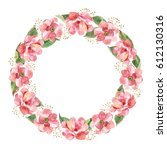 floral wreath with watercolor... | Shutterstock . vector #612130316