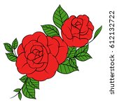 flowers roses  red buds and... | Shutterstock .eps vector #612132722