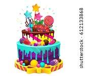 happy birthday cake. bright... | Shutterstock .eps vector #612133868