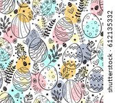 seamless easter pattern with... | Shutterstock .eps vector #612135332