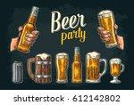 two hands holding beer glass... | Shutterstock .eps vector #612142802