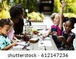 group of kids classmates... | Shutterstock . vector #612147236