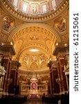 interior of large  heavily decorated basilica - stock photo