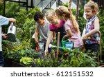 group of kindergarten kids... | Shutterstock . vector #612151532