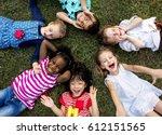 group of kindergarten kids... | Shutterstock . vector #612151565