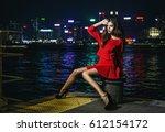 beautiful brunette girl in a... | Shutterstock . vector #612154172
