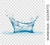 transparent water splash... | Shutterstock .eps vector #612154772