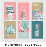 set of artistic creative summer ... | Shutterstock .eps vector #612155186