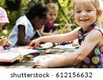 group of children drawing... | Shutterstock . vector #612156632