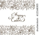 easter eggs with black floral...   Shutterstock .eps vector #612168305