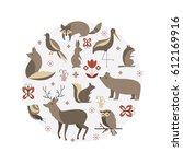 vector set of forest animals... | Shutterstock .eps vector #612169916
