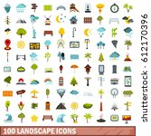 100 landscape icons set in flat ... | Shutterstock .eps vector #612170396