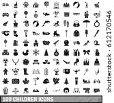 100 children icons set in... | Shutterstock .eps vector #612170546