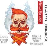 a brutal hipster's skull in...   Shutterstock .eps vector #612179465