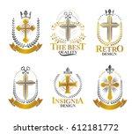 crosses religious emblems set.... | Shutterstock .eps vector #612181772