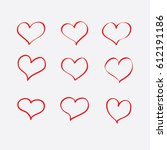 set of hand drawn sketchy hearts | Shutterstock .eps vector #612191186
