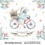 Stock photo hand drawing easter watercolor cartoon bunnies with leaves branches and feathers indigo 612205232