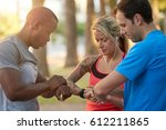 multi racial group of friends... | Shutterstock . vector #612211865