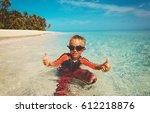 little boy having fun on... | Shutterstock . vector #612218876