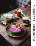 healthy breakfast made of... | Shutterstock . vector #612255842