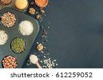 assortment of legumes  grains... | Shutterstock . vector #612259052