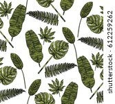 seamless pattern with tropical... | Shutterstock .eps vector #612259262