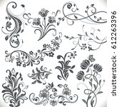 vintage flower design elements. ... | Shutterstock .eps vector #612263396