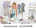 young blonde fashion designer... | Shutterstock . vector #612263498
