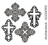 icons of  decorative  crosses. | Shutterstock .eps vector #61226593