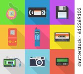 gadgets 90's vector icon set.... | Shutterstock .eps vector #612269102