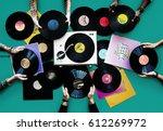 vinyl classic vintage music... | Shutterstock . vector #612269972