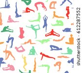 yoga poses collection.... | Shutterstock .eps vector #612287552