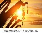 Silhouette Crane Truck In Flar...