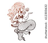 hand drawn beauty mermaid with... | Shutterstock .eps vector #612303632