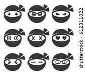 ninja face icons set on white... | Shutterstock .eps vector #612311822
