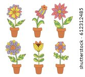 colorful cute flower pots... | Shutterstock .eps vector #612312485
