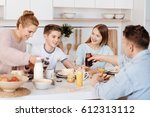 pleasant positive family having ... | Shutterstock . vector #612313112