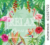 slogan relax live is good... | Shutterstock .eps vector #612327722