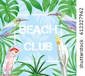 slogan beach club in frame of... | Shutterstock .eps vector #612327962