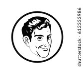man comic style black and white | Shutterstock .eps vector #612333986