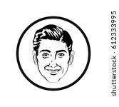 man comic style black and white | Shutterstock .eps vector #612333995