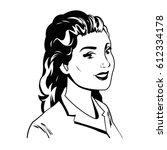 portrait woman comic image | Shutterstock .eps vector #612334178