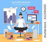 businesswoman doing meditation... | Shutterstock .eps vector #612334202