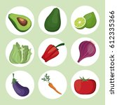 collection vegetables fresh... | Shutterstock .eps vector #612335366