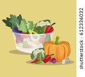 vegetables fresh ingredients... | Shutterstock .eps vector #612336032