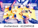 group of friends texting phone... | Shutterstock . vector #612349418