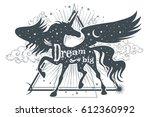magic unicorn silhouette with... | Shutterstock .eps vector #612360992